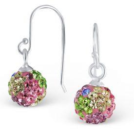 Kristallen bal oorbellen met pastelkleuren
