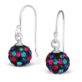 Kristallen bal oorbellen zwart/multi