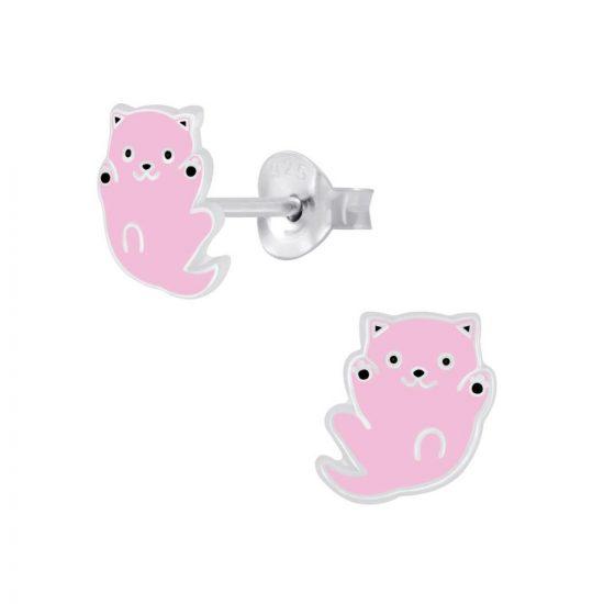 Roze poes oorbellen