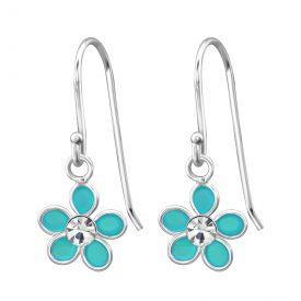 Blauwe bloem oorbellen hanger