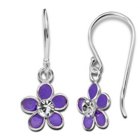 Paarse bloem oorbellen