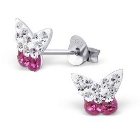 Vlinder oorbellen roze met wit kristal
