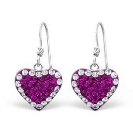 Hangers hartjes kristal roze/paars