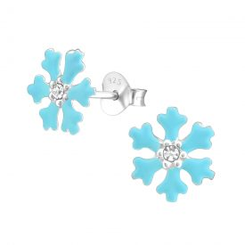 Sneeuwvlok blauw Frozen oorbellen