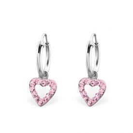 Creolen hartjes kristal roze