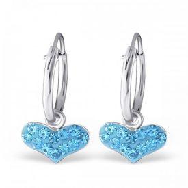 Creolen sparkling hearts blauw