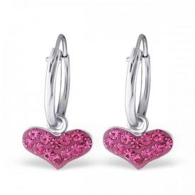 Creolen sparkling hearts roze