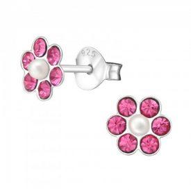 Bloemen kristal roze met parels