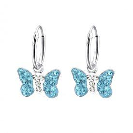 Creolen vlinders groot blauw kinderoorbellen