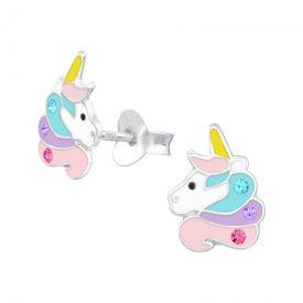 Unicorns oorbellen met epoxy en kristal