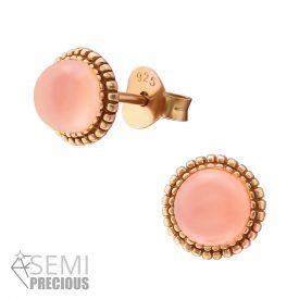 Marquise rose ronde dames oorbellen