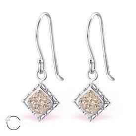 Square La Crystale zilveren oorbellen