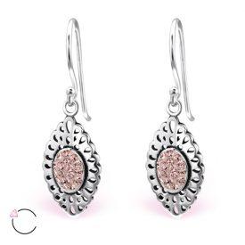Marquise pink Swarovski zilveren oorbellen