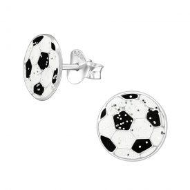 Voetbal glitter zilveren oorbellen