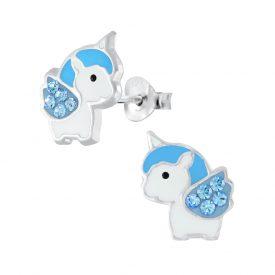 Baby eenhoorn blauw oorbellen