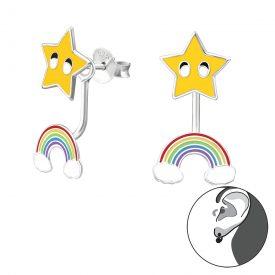 Ster met regenboog oorbellen